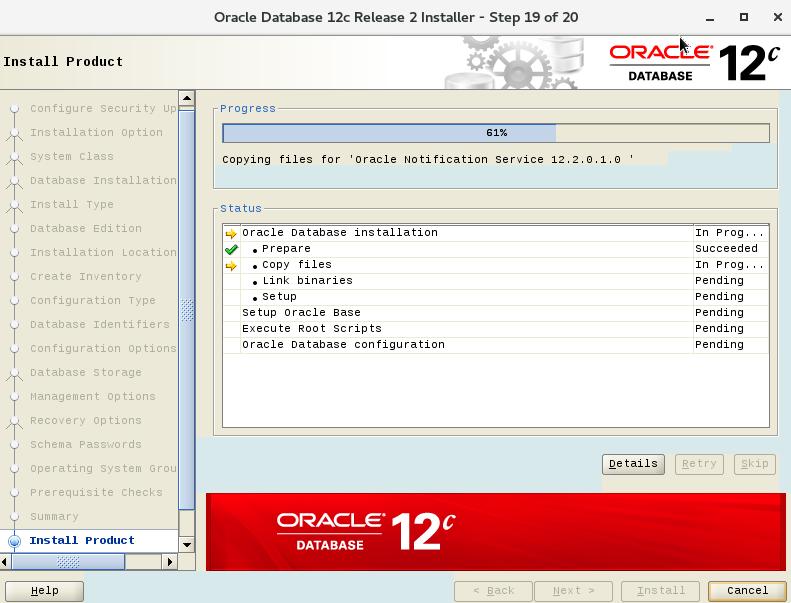 CentOS7 安装Oracle12cR2