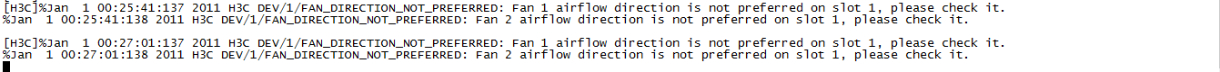 解决H3C DEV/1/FAN_DIRECTION_NOT_PREFERRED