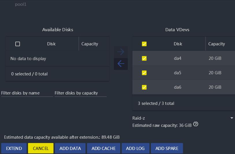 FreeNAS11.2 添加新磁盘到现有存储池