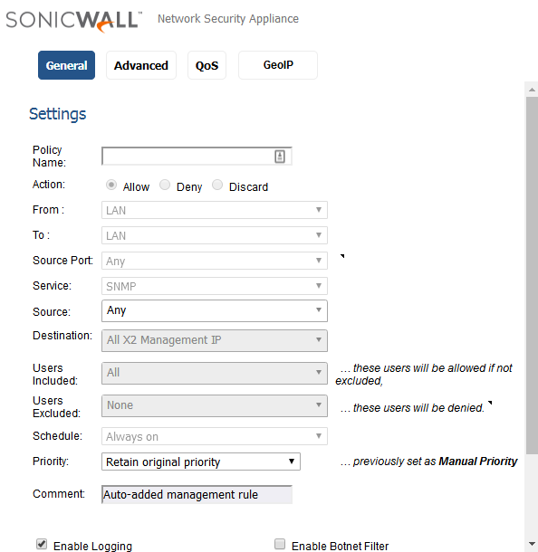 Dell SonicWall NSA5600配置SNMP