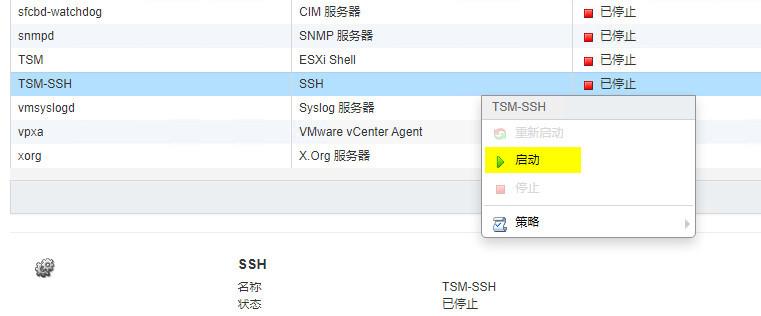ESXi6.7主机启动时自动开启shell(ssh)服务