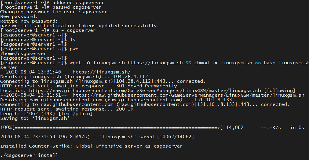 CentOS7使用LinuxGSM搭建csgo服务器