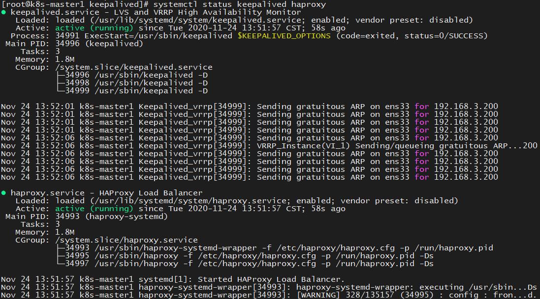 kubeadm+keepalived+haproxy搭建K8s高可用(三主两从)